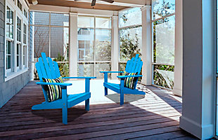 Monty Patio Acacia Wood Adirondack Chair (Set of 2), Blue, rollover
