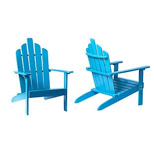 Monty Patio Acacia Wood Adirondack Chair (Set of 2), Blue, large