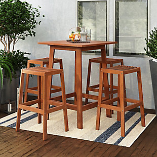 CorLiving Outdoor Bar Table and 4 Barstools, Brown, rollover