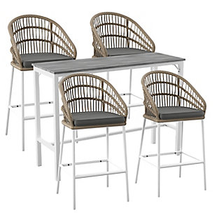 Outdoor Bar Table and 4 Barstools, , large