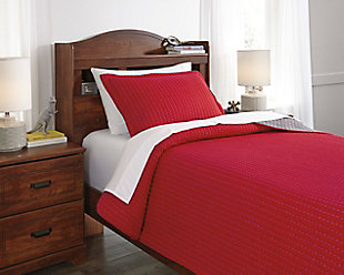 Dansby 2-Piece Twin Coverlet Set, Red/Gray, rollover