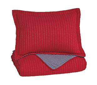 Dansby 2-Piece Twin Coverlet Set, Red/Gray, large