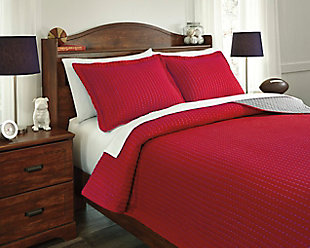 Dansby 3-Piece Full Coverlet Set, Red/Gray, large