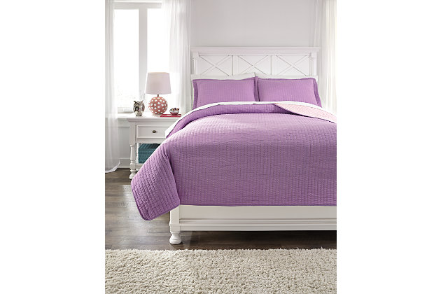 Dansby 3-Piece Full Coverlet Set, Lavender/Pink, large