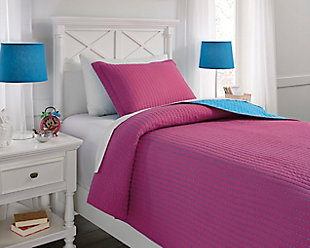 Dansby 2-Piece Twin Coverlet Set, Magenta/Aqua, rollover