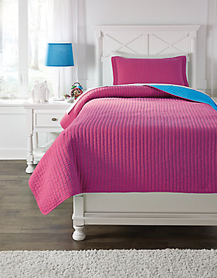 Dansby 2-Piece Twin Coverlet Set, Magenta/Aqua, large