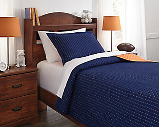 Dansby 2-Piece Twin Coverlet Set, Navy/Orange, rollover