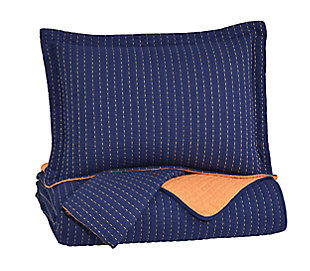 Dansby 3-Piece Full Coverlet Set, Navy/Orange, large