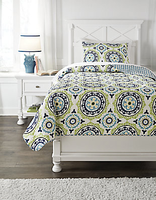 Danesha 2-Piece Twin Coverlet Set, Blue/Green, large