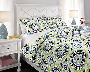 Danesha 3-Piece Full Coverlet Set, Blue/Green, large
