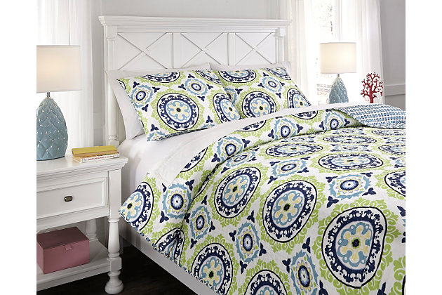 Blue & Green Danesha 3-Piece Full Coverlet Set by Ashley HomeStore