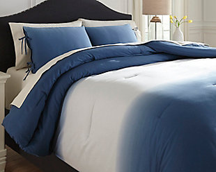 Aracely 3-Piece Queen Comforter Set, Blue, rollover