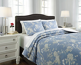 Damita 3-Piece Queen Quilt Set, Blue/Beige, rollover