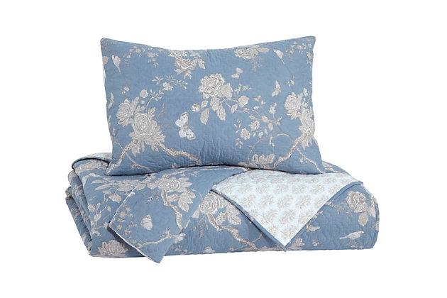 Damita 3-Piece Queen Quilt Set, Blue/Beige, large