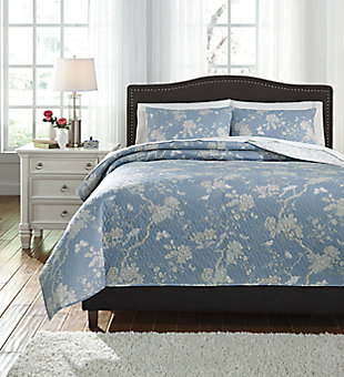 Damita 3-Piece Queen Quilt Set, Blue/Beige, large