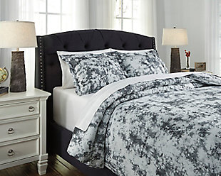 Darra 3-Piece Queen Duvet Cover Set, Gray, rollover