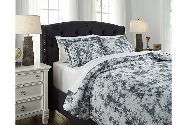 Darra 3-Piece Queen Duvet Cover Set, Gray, large