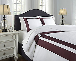 Daruka 3-Piece Queen Duvet Cover Set, Plum, rollover