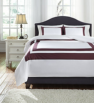Daruka 3-Piece Queen Duvet Cover Set, Plum, large