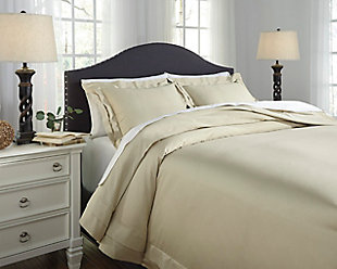 Chamness 3-Piece Queen Duvet Cover Set, Sand, rollover