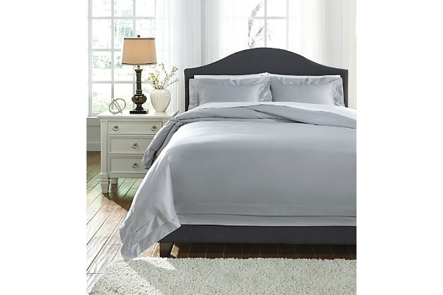 Chamness 3-Piece Queen Duvet Cover Set, Gray, large