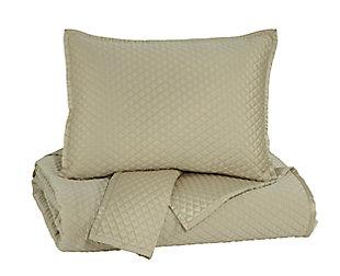 Dietrick 3-Piece King Quilt Set, Sand, large