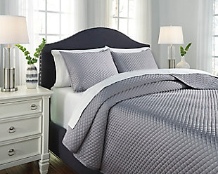 Dietrick 3-Piece Queen Quilt Set, Gray, rollover