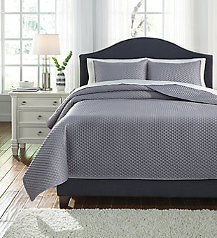Dietrick 3-Piece Queen Quilt Set, Gray, large