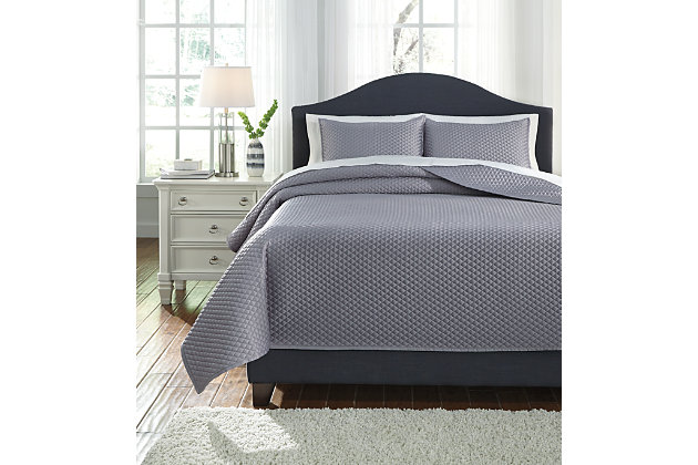 Dietrick 3-Piece King Quilt Set, Gray, large