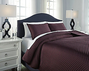 Dietrick 3-Piece Queen Quilt Set, Plum, rollover