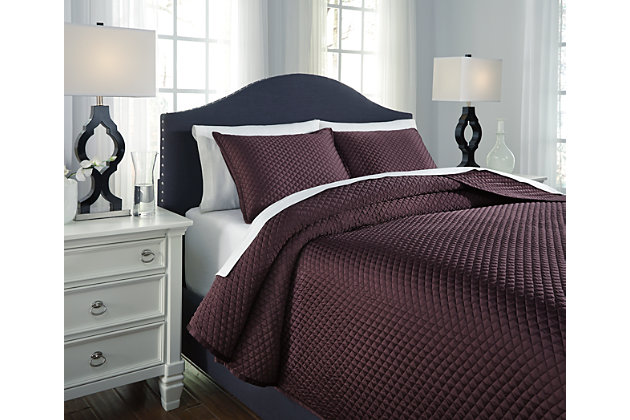 Dietrick 3-Piece King Quilt Set by Ashley HomeStore, Purple