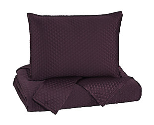 Dietrick 3-Piece Queen Quilt Set, Plum, large