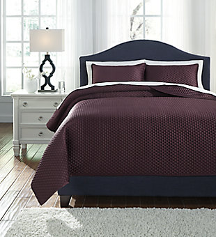 Dietrick 3-Piece Quilt Set, Plum, large
