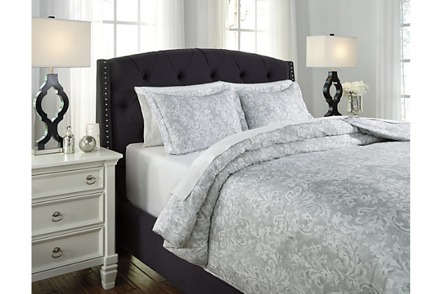 Daniyah 3-Piece King Duvet Cover Set by Ashley HomeStore, Gray