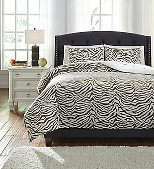 Hyun 3-Piece King Duvet Cover Set, Beige/Brown, large
