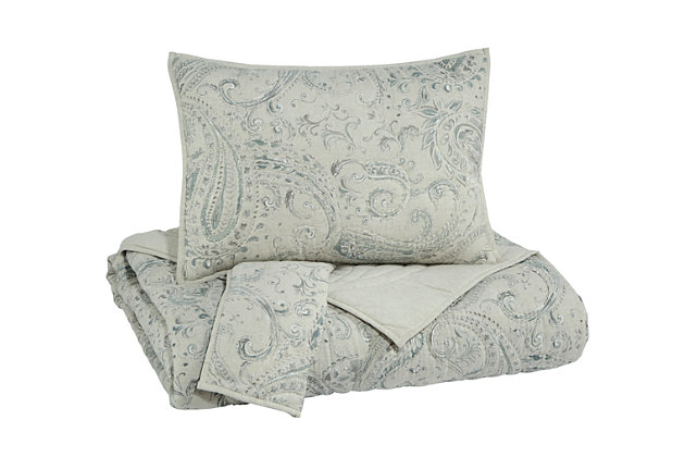 Darcila 3-Piece Queen Coverlet Set, Sage Green/Cream, large