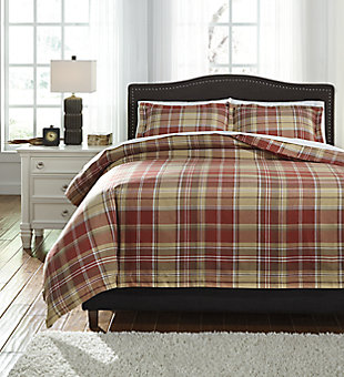 Danail 3-Piece Duvet Cover Set, Red/Gold/Green, large