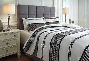 Masako 3-Piece Queen Comforter Set, Black/Cream, rollover