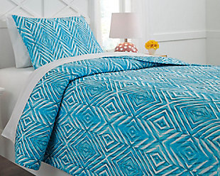 Jolana 2-Piece Twin Quilt Set, Turquoise, rollover