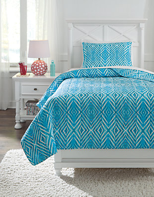 Jolana 2-Piece Twin Quilt Set, Turquoise, large