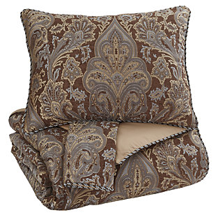 Asali 3-Piece Queen Comforter Set, Chocolate/Blue, large