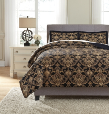 Ashley Amberlin 3-Piece Queen Comforter Set, Onyx/Gold