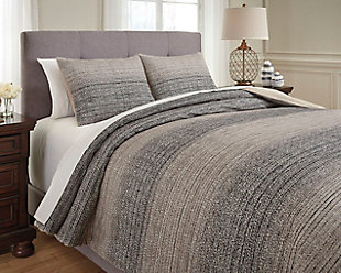 Arturo 3-Piece Queen Duvet Cover Set, Natural/Charcoal, rollover