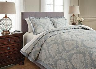 Joisse 3-Piece Queen Comforter Set, Sage, rollover