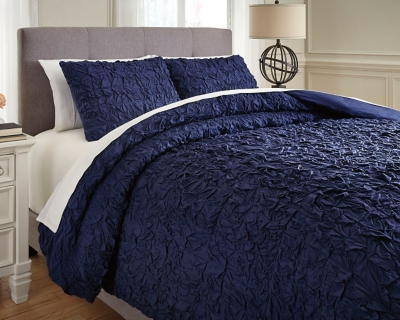 Ashley Marksville 3-Piece Queen Duvet Cover Set, Indigo