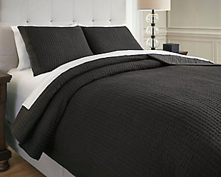Bronx 3-Piece King Coverlet Set, Black/Gray, rollover