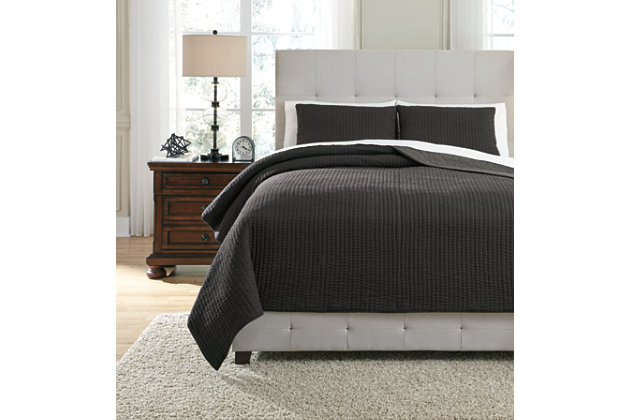 Bronx 3-Piece King Coverlet Set, Black/Gray, large