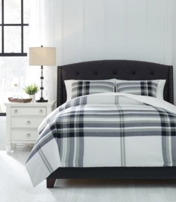 Stayner 3-Piece Queen Comforter Set, Black/Gray, large