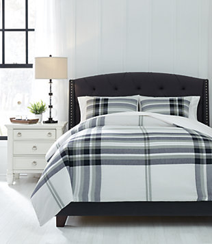 Stayner 3-Piece Queen Comforter Set, Black/Gray, rollover