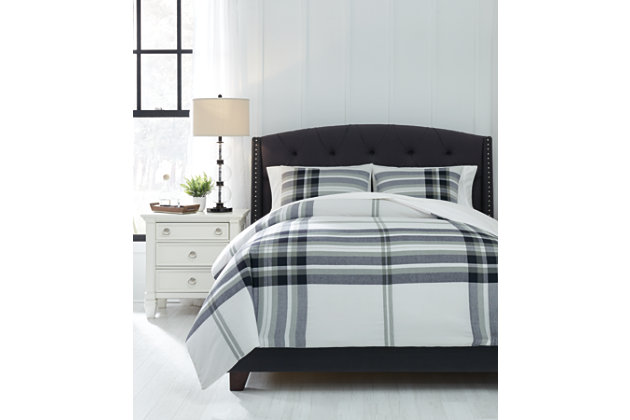 Stayner 3-Piece Queen Comforter Set, Black/Gray, large